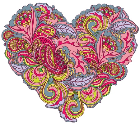Doodle heart, floral pattern. Design template. Abstract background. Stock Vector - 15887699