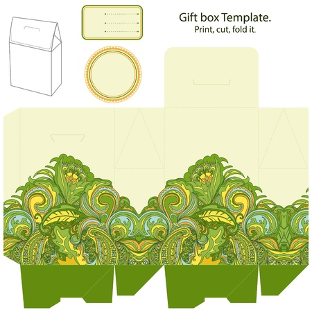 wedding favor: Gift box template. Abstract floral pattern. Empty label.