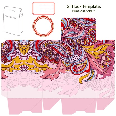 die cut: Gift box template. Abstract floral pattern. Empty label.