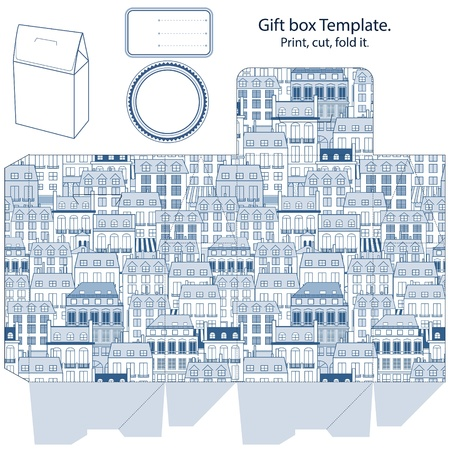 favor: Gift box template. City buildings pattern. Empty label.