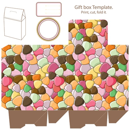 Gift box template. Color chape pattern. Empty label.  Çizim