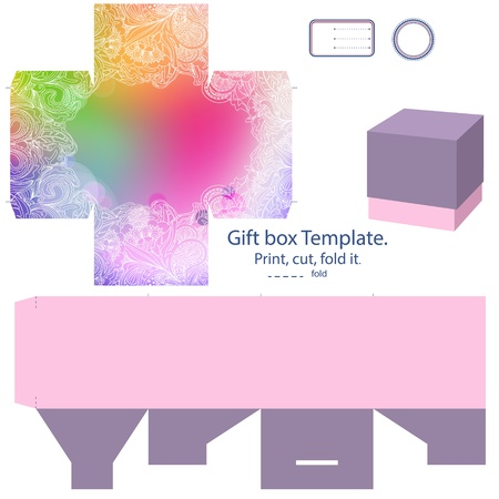 favor: Favor box die cut. Abstract floral pattern. Empty label.