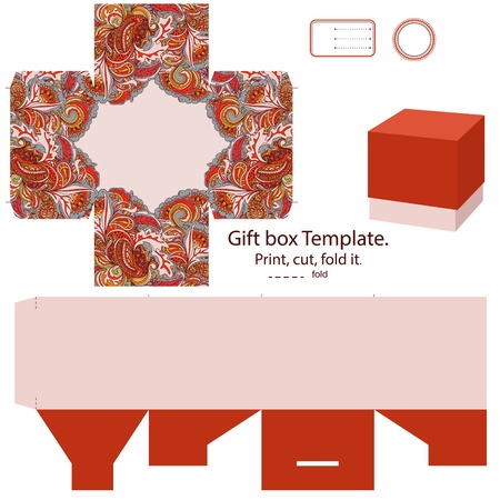 Favor box die cut. Abstract floral pattern. Empty label.