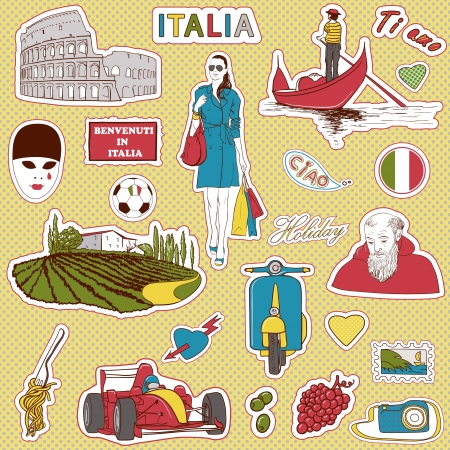 coliseum: Set of the doodle sketches. Italy travel icons.