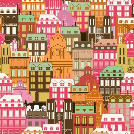 Nahtlose Muster mit städtischen Gebäuden. Generische Historische Architektur. Reisen Hintergrund. Illustration