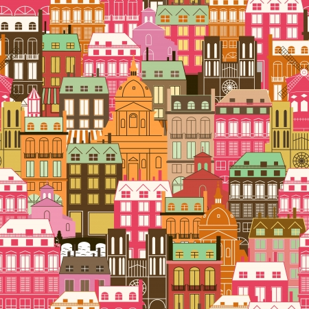 Seamless pattern with city buildings. Generic Historic architecture. Travel background. Vector