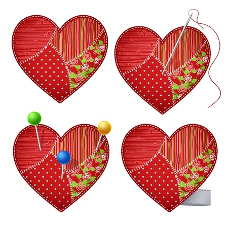 straight pin: Patchwork hearts pierced with pins.
