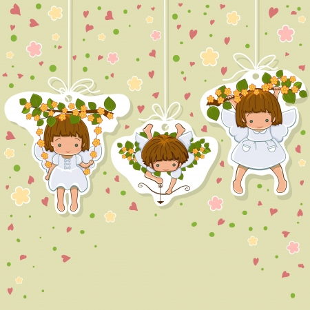 Valentines Card. Set of little angels icons. Angels background with copyspace. Vector