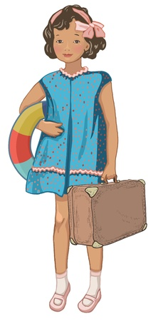 baby swim: Vintage little girl holding inflatable ring and suitcase. Retro style character. Holidays, voyage concept.