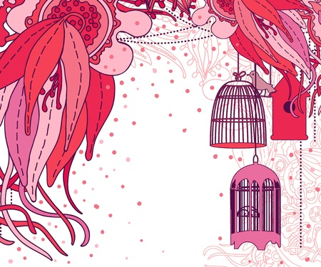 Doodle floral design. Design template. Background with flowers, bird and birdcages. Vector