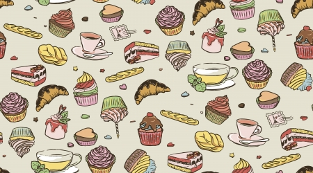 Illustration of delicious cupcakes, cup of coffee and cup of tea, seamless pattern. Candies background. Vector