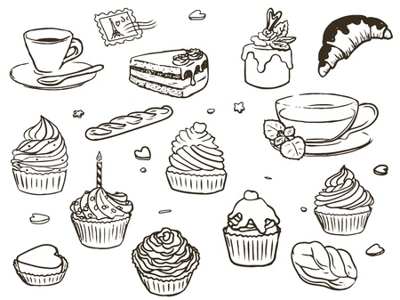 Illustration of delicious cupcakes, cup of coffee and cup of tea, outline. Isolated on white background. Stock Vector - 17757230