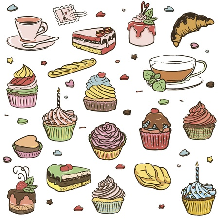 Illustration of delicious cupcakes, cup of coffee and cup of tea  in retro style. Isolated on white background. Vector