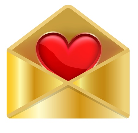 Icon Golden Envelope and Hearts, concept Love, Valentine's Day Stock Vector - 17757238