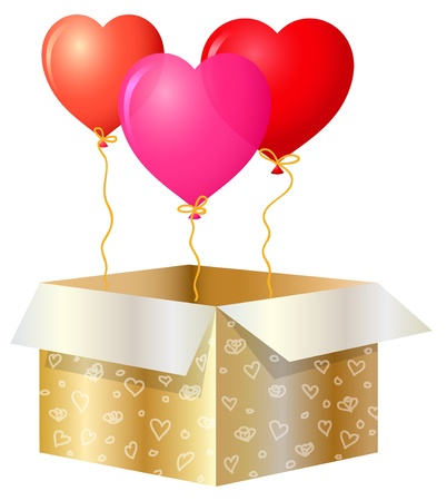 Gold Gift Box With Balloons Stock Vector - 17757237