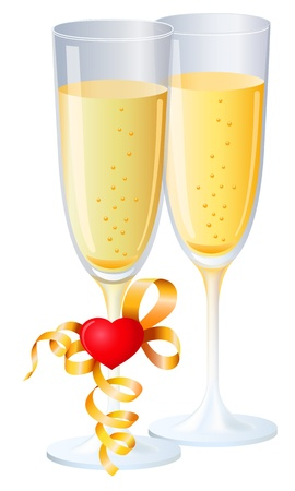 glasses of champagne, heart and streamer, isolated, wedding or valentines symbol Vector
