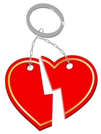 glassed: Styled shiny red broken heart.