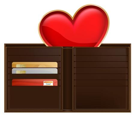 waste money: wallet with heart inside