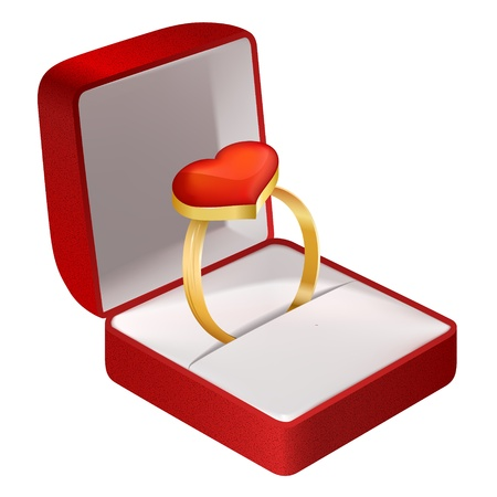 gold ring: Gold ring with pink heart in Red Velvet Box