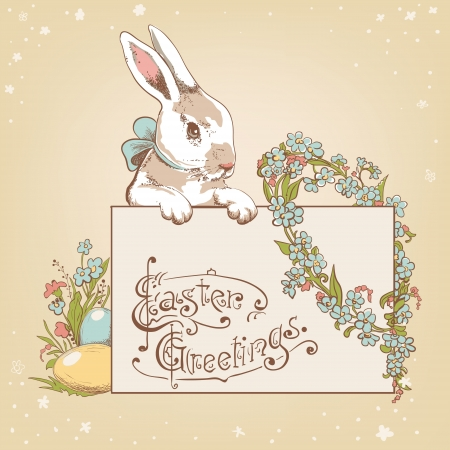 Easter card template or background. Hand drawn illustration Stock Vector - 17932552