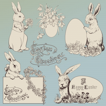 Easter bunny set. Hand drawn illustrations Vectores