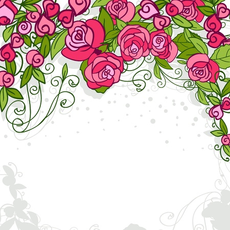 hearts and roses: Stylish floral background. Roses. Element for design.  Illustration