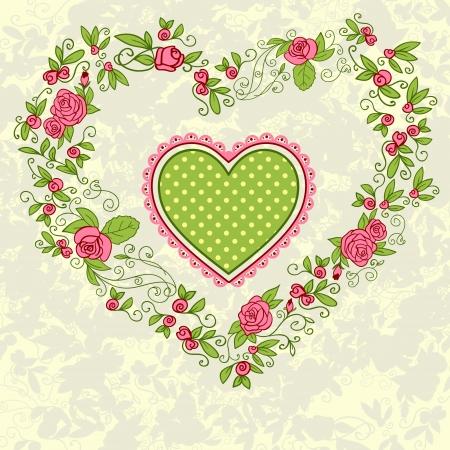 Pink roses vintage heart frame. Vector