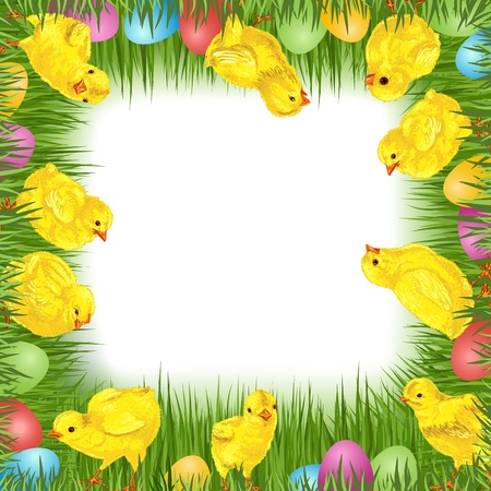 Easter eggs with grass, chick and ribbon. Empty space. Spring background Stock Vector - 17933877