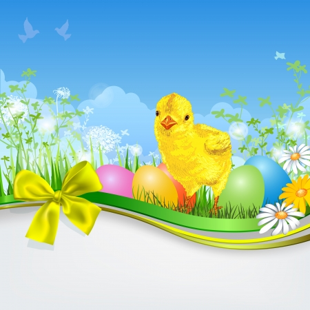 april beautiful: Easter eggs with grass, chick and ribbon. Empty space. Spring background Illustration