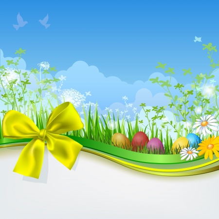 Easter eggs with grass and ribbon. Empty space. Spring background