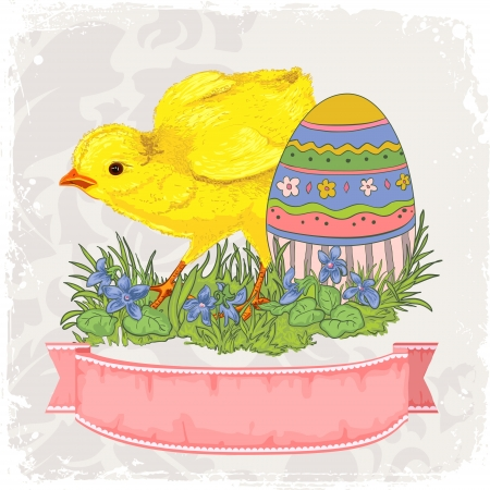 Easter card template or background  Hand drawn illustration Vector