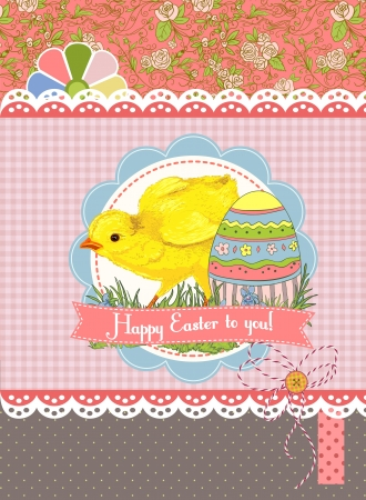 Easter card template or background  Hand drawn illustration Stock Vector - 18056431