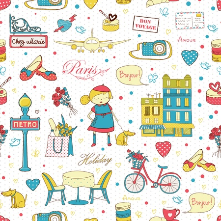 Paris travel seamless pattern, travel background  Endless pattern can be used for wallpaper, pattern fills, web page background, surface textures  Vector