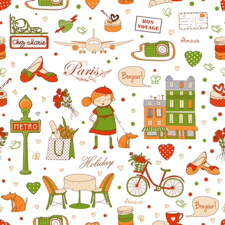 Paris travel seamless pattern, travel background  Endless pattern can be used for wallpaper, pattern fills, web page background, surface textures