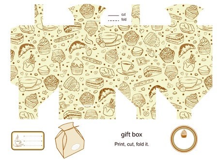 Favor, gift, product box die cut   Coffe and cupcakes pattern  Empty label  Designer template  Vector