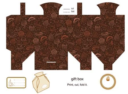 product box: Favor, regalo, confezione del prodotto fustellato Caff� e dolcetti pattern vuoto Designer modelli etichetta Vettoriali