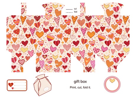 Favor, gift, product box die cut.  Heart love pattern. Empty label. Designer template. Stock Vector - 18149037