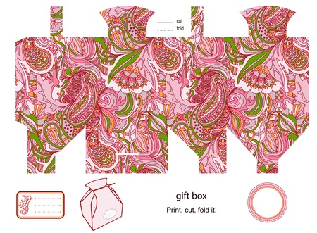 food pyramid: Favor, gift, product box die cut.  abstract floral pattern. Empty label. Designer template.