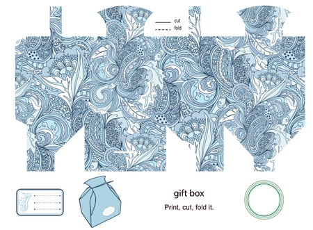 food package: Favor, gift, product box die cut.  abstract floral pattern. Empty label. Designer template.