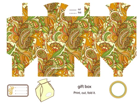Favor, gift, product box die cut.  abstract floral pattern. Empty label. Designer template. Stock Vector - 18149036
