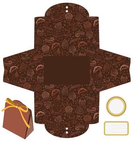 Gift oder Produktverpackungen Box. Isoliert. Cupcakes, Süßigkeiten, Kaffee-Muster. Leeres Etikett. Template. Illustration