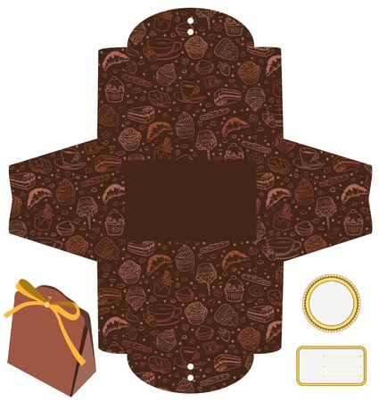 Gift or product packaging box. Isolated. Cupcakes, candies, coffee pattern. Empty label. Template. Vector