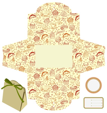 Regalo o caja de embalaje del producto. Aislado. Magdalenas, dulces, patrón del café. Etiqueta vacía. Plantilla. Ilustración de vector