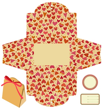Gift packaging box. Isolated. Heart love pattern. Empty label. Template. Vector