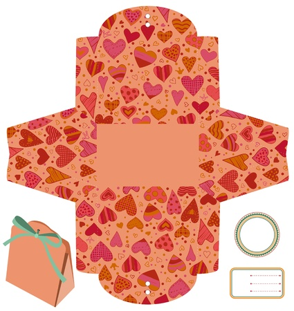 Gift packaging box. Isolated. Heart love pattern. Empty label. Template.