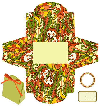 wedding favor: Gift or product packaging box. Isolated. Abstract pattern. Empty label. Template.