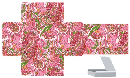 Favor, gift, product box die cut.  Floral abstract pattern. Empty label. Designer template. Illustration