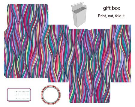 die cut: Favor, gift, product box die cut.  Waves stripped pattern. Empty label. Designer template.