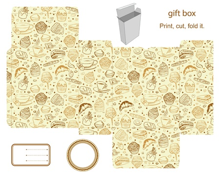 dieline: Favor, gift, product box die cut.  Cupcake, tea, coffee pattern. Empty label. Designer template.