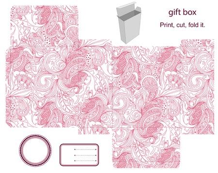 product box: Favor, regalo, confezione del prodotto fustellato. Abstract pattern floreale. Etichetta vuota. Designer modelli.